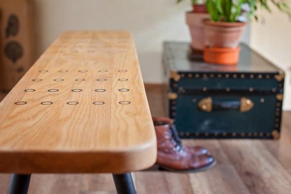 Oak bench Vintage French